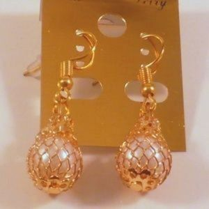 ❤️Dangle Earrings Encaged Pearl Bead